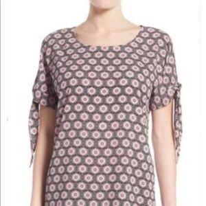 Pleione Pink Printed Short Sleeve Chiffon Blouse